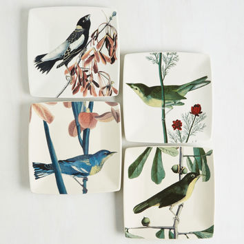 Bow and Sparrow Plate Set | Mod Retro Vintage Kitchen | ModCloth.com