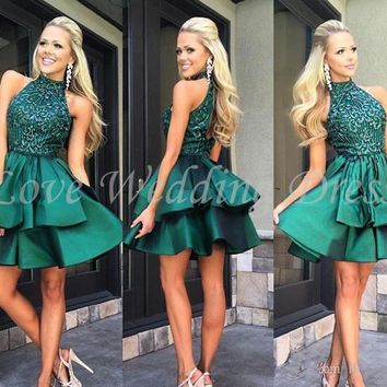 New Halter Cocktail Dress Tiered Beading Prom Dress Above Knee Prom Dresses Satin Backless Off The Shoulder Vestido De Festa