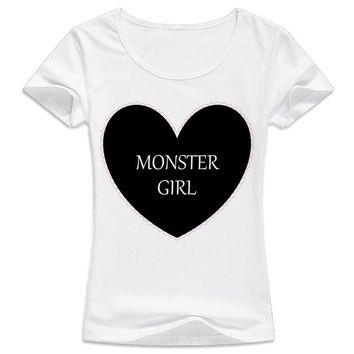 Pastel Goth Monster Girl in Black Women Casual t shirt white Short Tees Ladies O-Neck T-shirt
