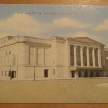 Vintage City Auditorium Colorado Springs Colorado Postcard