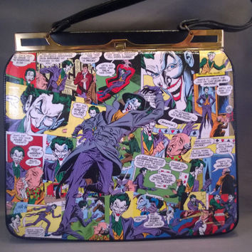 Catwoman and Joker comic book decoupage purse