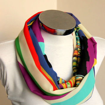 Multi colored infinity scarf circle scarf tube scarf, loop scarf, womens scarf, fashion accessories summer fashion scarf polychrome infinity