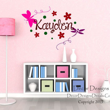 Dragonfly Name Wall Decal
