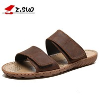 ZSUO Brand Genuine Leather Men Slippers Plus Size:38-46 Waterproof Summer Shoes Men Outdoor Beach Shoes Sandals Slides for male