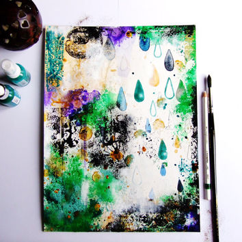 Abstract Art Original Painting Landscape Drops Acrylic Paint Ink Gouache Drawing Home Decor Wall Art Contemporary Art Landscape Art Green