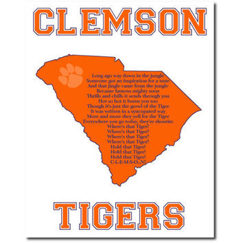 Clemson Tigers Football Fight Song Art Print South Carolina State outline 10x8