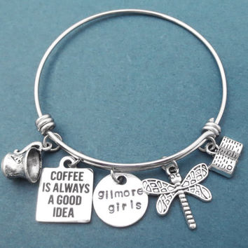 Coffee is always a good idea, Gilmore girls, Dragonfly, Book, Coffee, Mug, Silver, Bangle, Bracelet, Gilmore, Gift, Jewelry