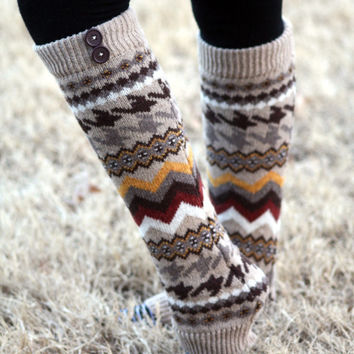 Aztec Legwarmers- Tan Leg warmers, Khaki Legwarmers, Brown, Knitted Leg warmers, Boot Socks, Boot cover, Winter Socks, Aztec Print
