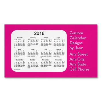 2016 Violet Red Business Calendar by Janz Magnet Magnetic Business Cards (Pack Of 25)