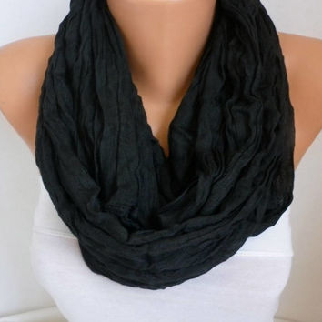 Black Cotton Infinity Scarf,Soft,Summer Cowl Circle Loop Oversized Bridesmaid Gift Gift For Her Mom,Birthday Gift,Women Fashion Accessories
