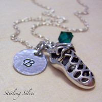 Irish Dance Personalized Necklace, Hand Stamped Sterling Silver Initial Necklace, Irish Dancer Necklace, Soft Shoe