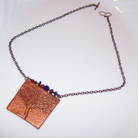 Essential Oil Tree of Life Clay Pendant Handmade Aromatherapy Clay Pendant with Natural Stones and Copper Chain