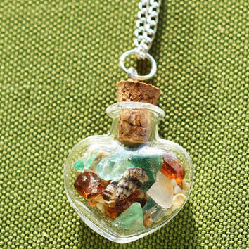 Miscellaneous beach glass bottle pendant by callmecrasey on Etsy