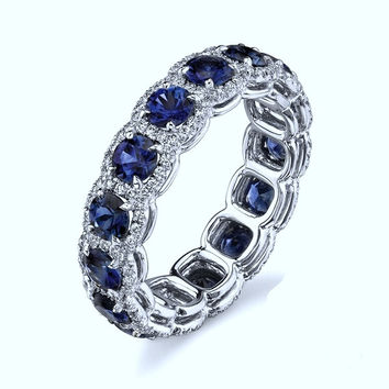 Best Diamond With Blue Sapphire Wedding Band Ring Products on Wanelo