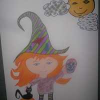 Adorable Halloween Witch with Zen Tangle Doodle Hat Clouds and Sugar Skull Black Cat Pumpkin Original Signed free Shipping