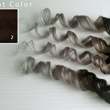 "Silver Ash 12"" 14"" 16"" or 18"" Silver Ash Blonde #2 Darkest Brown 100% Human Hair Ombre Dip Dye Pastel Hair"