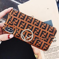Fendi Fashion New More Letter Envelope Card Women Men Protective Cover Phone Case Brown