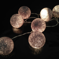 20 Bulbs Handmade Dim Grey Cotton ball string lights for Patio,Wedding,Party and Decoration