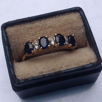14K yellow gold diamond and sapphire ring    VJSE