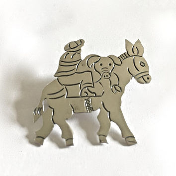 Signed JHP Sterling Silver Early TAXCO Donkey Pin Brooch with Detail of Man Wearing Sombrero and carrying a Pig, Older TAXCO #3 Makers Mark