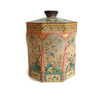 Vintage Tin-Round Tin box with Lid-Asian Garden Design-Candy Tin-Confection-Biscuit Tin-Shabby Chic-Home Decor-Octagonal