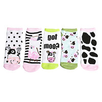 Girls Cow/Got Milk 5 Pack Socks