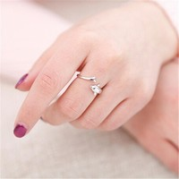 925 Sterling Silver Dolphin Ring Finger Fashion Women Lady Ring Opening Adjustable gift