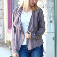 Suede Zip Up Moto Jacket {Taupe}