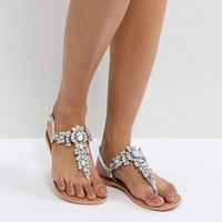 ASOS FAIRLIGHT Leather Embellished Flat Sandals at asos.com