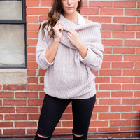 Mauve Fold Over Ribbed Sweater