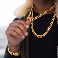 Diamond Cuban Link Necklace (10mm) in Yellow Gold