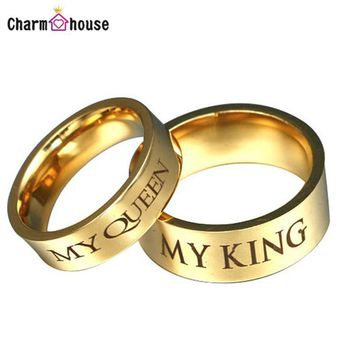 Cool Stainless Steel My King And Queen Rings Wedding Rings for Men And Women Fashion Couples Ring Set Anniversary Gift Conjunto AneisAT_93_12