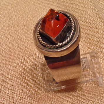 Sterling Silver Amber Ring, Signed, Size 7.5, FREE SHIPPING,  LB,   925,