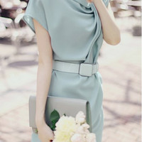 Skew Neck Short Sleeve Dress