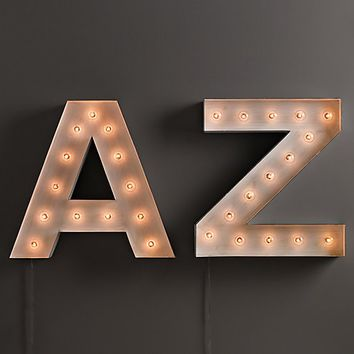 Vintage Illuminated Marquee Letter White