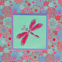 Embroidered dragonfly card or picture / choice of colours / choice of styles