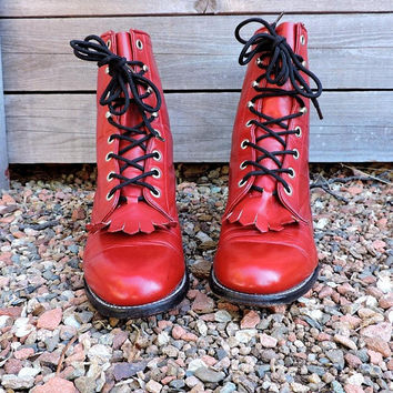 Vintage womens ropers 5.5 / red leather lace up ankle boots / Tony Lama George Strait / fringed cowgirl western lacers