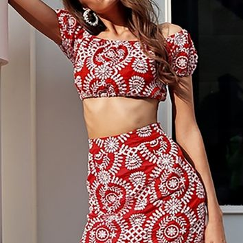 Boho Princess Red Embroidery Floral Pattern Short Sleeve Off The Shoulder Crop Top High Waist Casual Two Piece Mini Dress