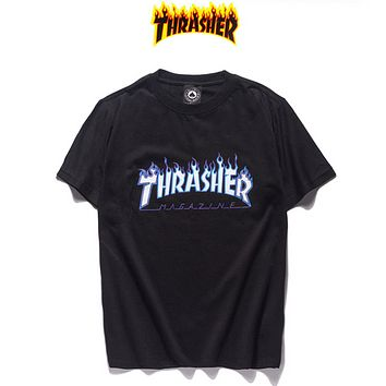 Thrasher Fashion New Flame Letter Print Women Men Top T-Shirt Black