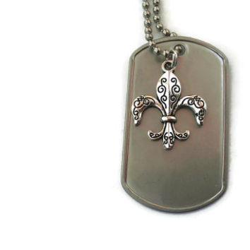 Fleur de Lis Custom Engrave Necklace Charm Tag Pendant New Orleans Louisiana Inspired NOLA Originals Silver Black FREE ENGRAVING Men Women