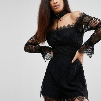 Kendall + Kylie Off-Shoulder Lace Playsuit at asos.com