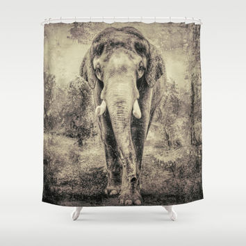 Lone Elephant Shower Curtain by Theresa Campbell D'August Art