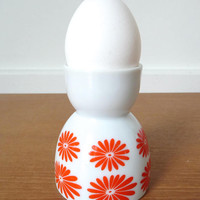 White porcelain egg cup with mod orange flowers
