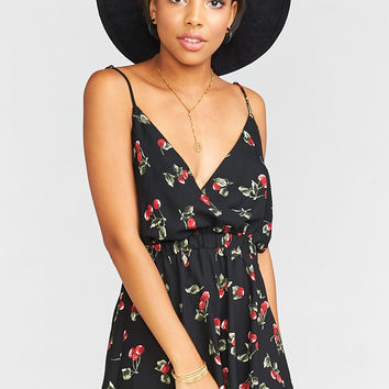 Olympia Romper ~ Cheeky Cherry Crepe