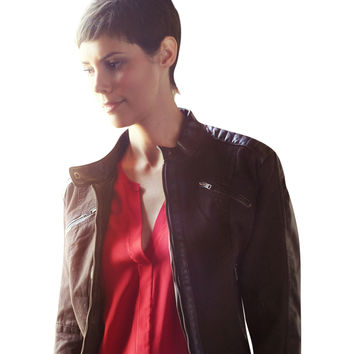 Moto Womens Jacket Canvas With Faux Leather l James&Co