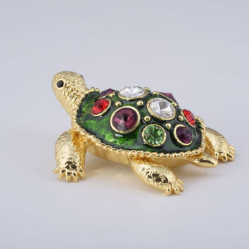 Green Shell Golden Turtle Faberge Styled Trinket Box Handmade by Keren Kopal Enamel Painted Decorated with Swarovski Crystals