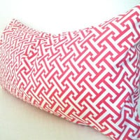 Pink Lumbar Pillow, Pink and White Geometric Pillow Cover, Rectangle Decorative pillow Cover, Raspberry Pink