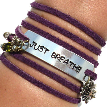 Just Breathe Leather Bracelet Suede Yoga Jewelry Breath Namaste Lotus Purple Gift For Her Yogi Teacher Christmas Stocking Stuffer M16