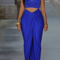 Blue Sleeveless Tank Top with Ruched Skirt Twinset