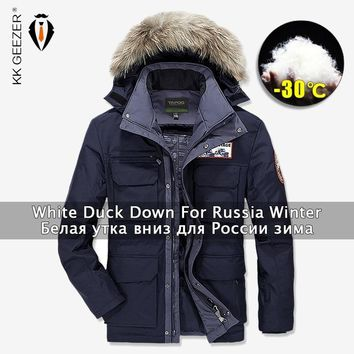 Trendy Winter Jackets Down Men Windbreak 2018 Duck 80% Parkas Military Fur Business Thick Coat Padded Parka Fashion Waterproof Overcoat AT_94_13
